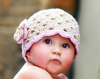 Crochet Toddler Hat, Beige Hat for Girls, Crochet Hat with Flower, Toddler Flower Hat, 2T to 4T