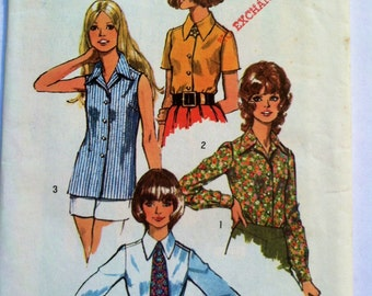"Miss 18 Uncut 1972 Simplicity Vintage Sewing Pattern 5022 Collar, Buttoned BLOUSES with cuff & TIE -Bust 40"",Waist 32"""
