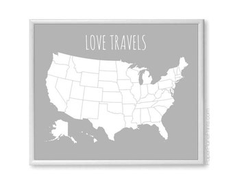 Large US Map Poster, Modern USA Travel Map With Stickers DIY Kit, Couples Map, Wife Valentines Day Gift, Anniversary Gift, Let's Get Lost