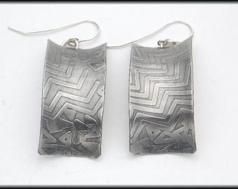 MOD GEOS - Handforged Antiqued Embossed Modern Geometrics Earrings