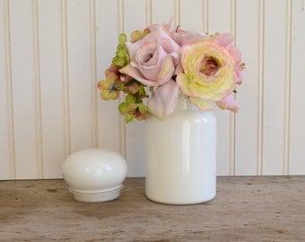 Medium White Milk Glass Apothecary Jar made in Belgium - Royal Hill Vintage