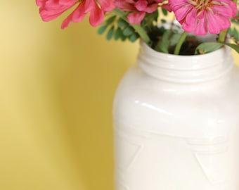 Ceramic Mason Jar Vase in Cream - Ceramics and Pottery - Modern Ceramics