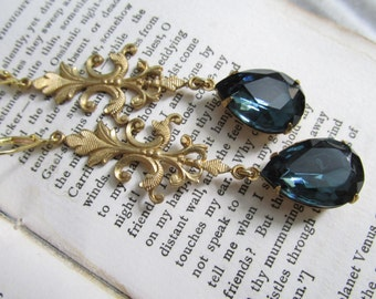 French Flourish~ navy blue bridal earrings, gold french earrings. Montana sapphire earrings.