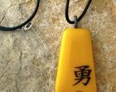 Fused Glass Pendant, Kanji Symbol Glass Pendant, Yellow Asian Inspired Pendant Fused Glass Necklace, Fused Glass Pendant - Brave