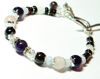 RESERVED for Joy-CIERRA Fertility, Miscarriage and Loss Bracelet- Blue lace agate, Rose Quartz, Amethyst, Garnet, Moonstone, Rock crystal