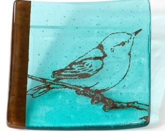 Bird Fused Glass Catch-all Dish