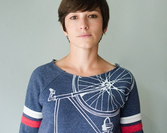 FIXIE Bike SWEATSHIRT SMALL women's white bicycle on navy pullover sport fleece S
