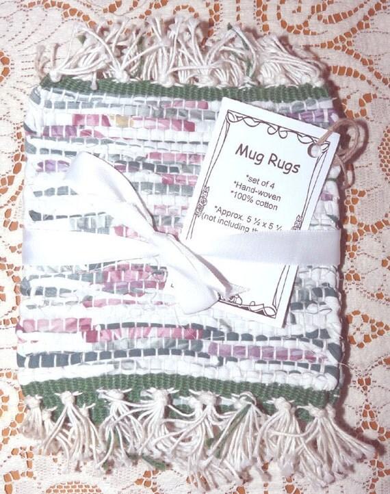 Handwoven Mug Rugs or Coasters / Set of 4