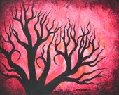 Red  trees, Red Forest, ART, Original Acrylic painting by Jordanka Yaretz