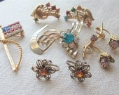 Vintage Jewelry Lot Colored Rhinestone Pins and Earrings