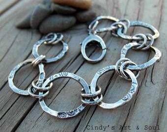 Silver Chain Bracelet Handmade Ring Link Chain Fine Silver
