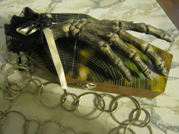 Sable Brown Gothic Hand Spider Coffin Purse