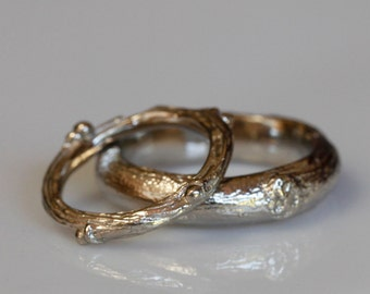 Willow twig ring set, 14k gold, wedding set, made to order, your size