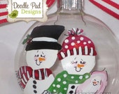 First Christmas, Personalized Snowman Family of 3 with baby girl in arms, Grandparents First Christmas - doodlepaddesigns