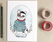 Thank You Card - French Bulldog Card - Frenchie with Beret - Funny Blank Thank You Card - Merci
