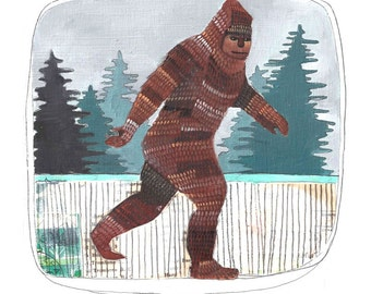 Art Print - Wall Art - Print of Painting - Sasquatch Print - Big Foot Art - Big Foot Print - Sasquatch Illustration - 8x10 Print - Sasquatch