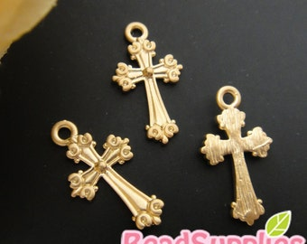 CH-ME-02227 - Nickel Free, Matted gold plated, Art nouveau cross, 4 pcs