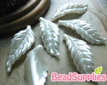 CA-AR-01001- Acrylic pearl,Long leaf, pearl, 6 pcs