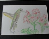 Hummingbird with flowers, 4x6 matted to 5x7, ChristyLDesigns