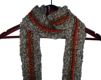 Manly Fringed Scarf Orange Brown - Hand Knit - Acrylic