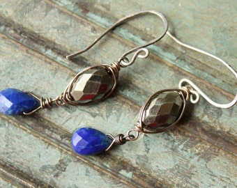 Wire Wrapped Pyrite Lapis Earrings,  Sterling Silver Wire Wrapped Earrings, Lapis Lazuli Earrings, Semi Precious Gemstone Earrings, Dangles