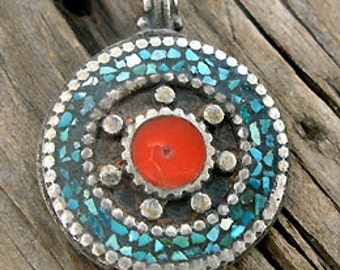 Tibetan Mandala Pendant with Turquoise Coral Inlay -38mm