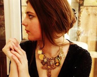 Statement Necklace, Assemblage Necklace 'THE ILLUMINATI'  Gold Charm Necklace, Vintage Necklace, Mona Lisa, Art Crucifix