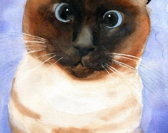 Cross Eyed Applehead Cat  Art  Giclee Watercolor Pet Portrait 4 Christmas Gift