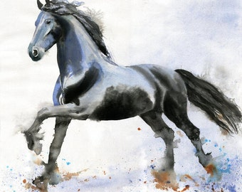 Friesian Horse Art PRINT Morgan Warmblood reproduction of a watercolor Painting
