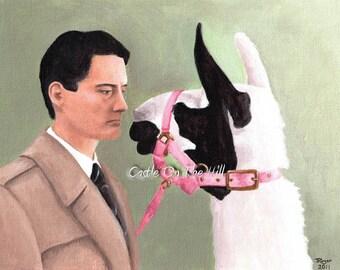 Twin Peaks - Original 10 x 8 acrylic painting - Coop & the Llama - unframed