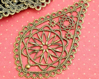 20pcs 66mm Antique Bronze Drop Filigree Pendants R0168-AB