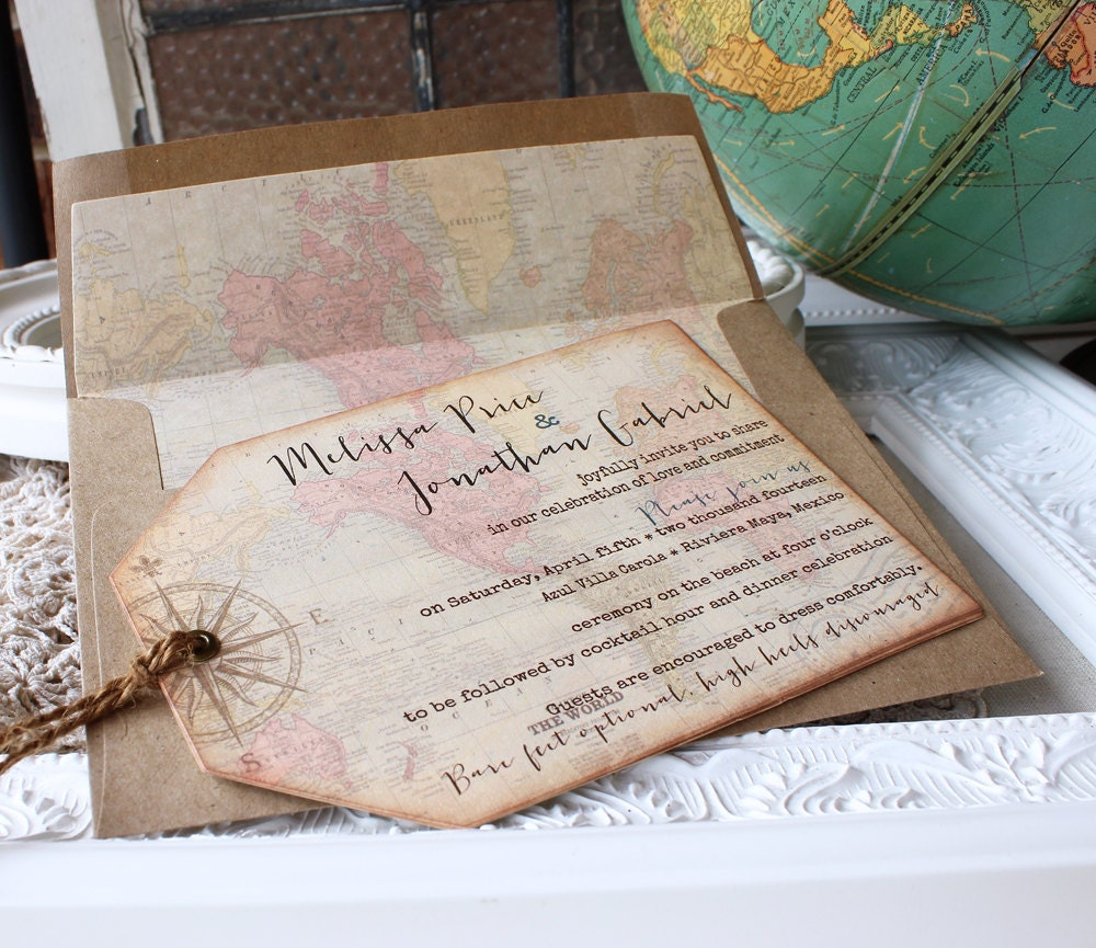Maps For Wedding Invitations: Vintage World Map Wedding Invitation Destination Wedding