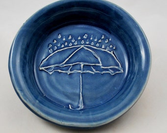 Blue Bowl with Unbrella and Rain Stoneware Clay Pottery