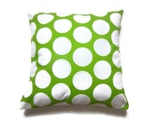 Decorative Pillow Cover Chartreuse White Bold Polka Dot  Accent Throw Toss Cover 16 inch