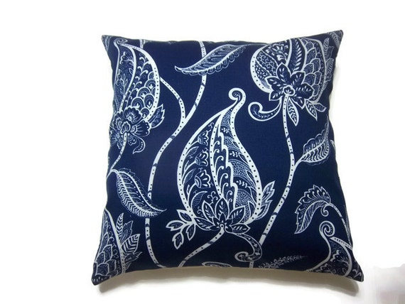 Two Navy Blue White Pillow Covers Decorative Modern Leaf Design Toss Throw Accent Covers 18 inch