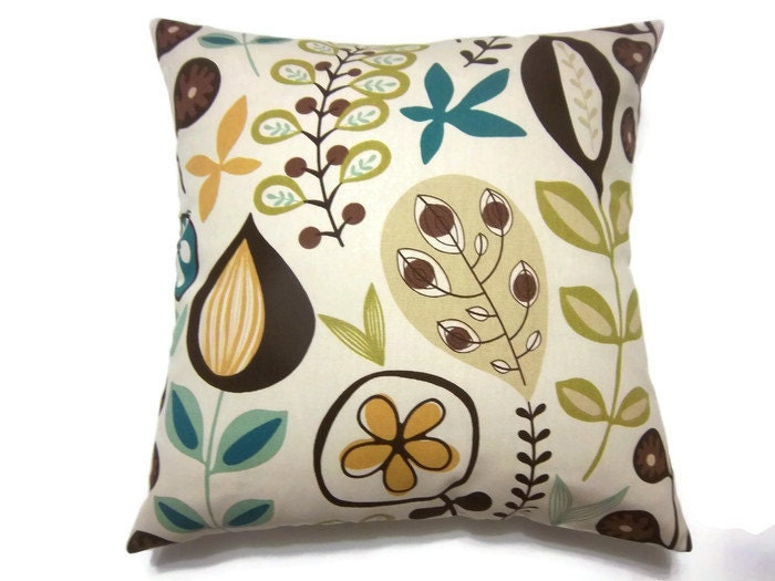 Decorative Pillow Cover Chocolate Brown Teal Olive Green