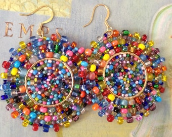 Beaded Earrings Confetti Splash Seed Bead Earrings Large Multicolored Disc Earrings