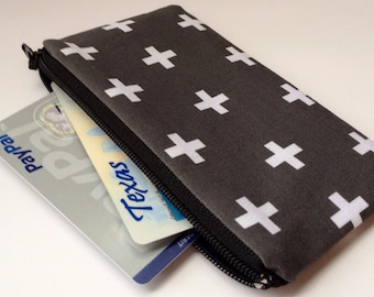 Zippered Coin Purse Wallet - Fabric Business Card Holder - Grey White Cross Plus Sign