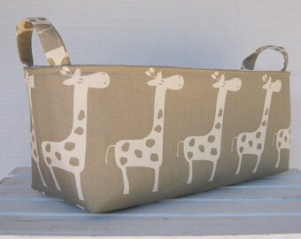 Long Diaper Caddy - Storage Container Basket Fabric Organizer Bin - Giraffe Fabric - Choose the Outside and Inside/ Lining Fabrics