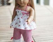 "American Girl doll clothes 18"" doll 3 pieces outfit: Top pants headband - Le Temps des Cerises"