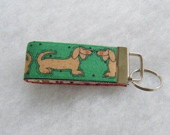 Mini Key Fob  - Dachshunds with green background