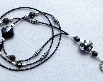 Reflection - beaded badge lanyard - black and silver glass beaded ID badge lanyard necklace for teacher nurse gift