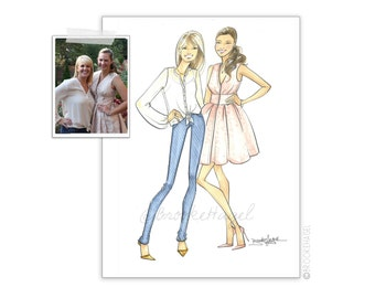 Custom Couple Fashion Illustration - Sketch - Brooke Hagel
