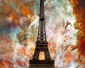 Eiffel Tower Art PRINT Paris France Travel Landscape Sky Nebula Modern Contemporary Collage Cool Unique Gift Artwork Famous Landmark Huge