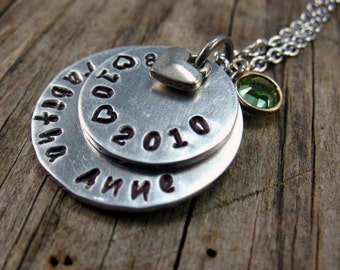 Personalized Hand Stamped Necklace, New Mom Necklace, Childs Name and Birth Date