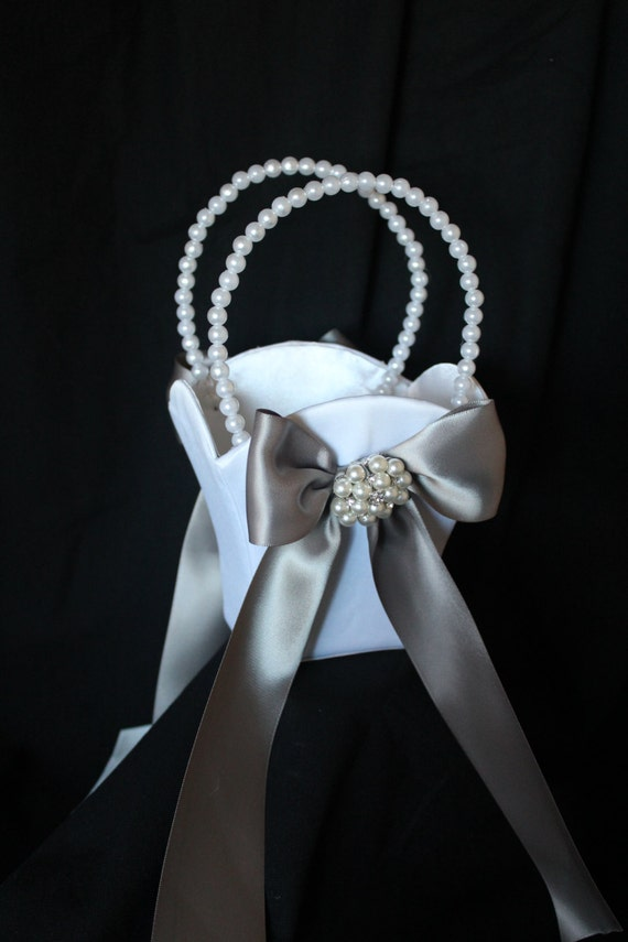 Flower Girl Basket Gray : White or ivory satin flower girl basket with gray silver