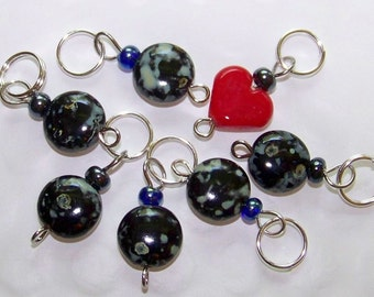 Hand Made Stitch Markers -- Cosmic Love (Czech glass)