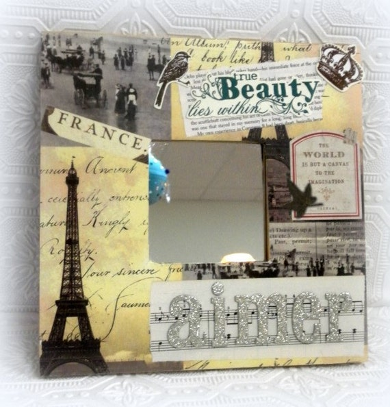 Shabby Chic Paris Inspired French, Altered Art Decorative Mirror - Country French Decor, Shabby Chic, Cottage Wall Decor