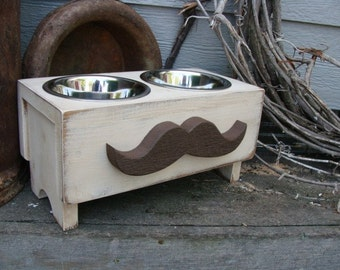 Shabby Cottage Elevated Dog Feeder Bowl Holder Feeding Stand Wood Mustache Antique White n Brown Custom
