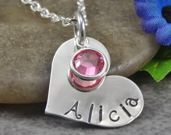 Hand Stamped Jewelry - Personalized Jewelry - Mom Necklace - Sterling Silver Heart Necklace - One Name One Birthstone